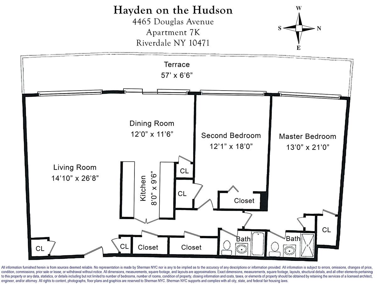 Hayden Homes Hudson Floor Plan: 4465 Douglas Avenue, #7K, Bronx, NY, New York 10463