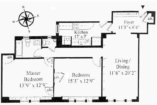 Floor plan of 322 West 72 Street Corp., 322 West 72nd Street, 12D - Upper West Side, New York