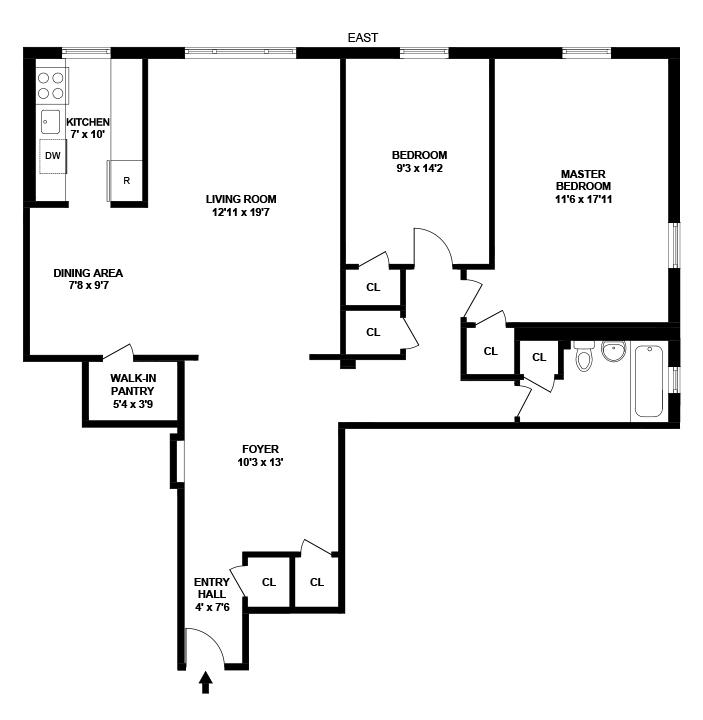 Floor plan of 221 East 18th St, 4G - Flatbush, New York
