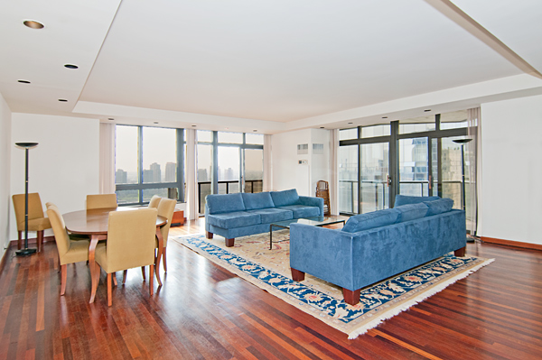 Available Furnished!!!!100 United Nations Plaza is an Elegant White Glove Condominium and is strategically located in the heart of Midtown Manhattan. The 24/7 Concierge/Doorman Condominium is equipped with a Gym, a Lounge Area for Residents, A Parking Garage, Full Valet Services, Laundry Room, Storage and a Stream of Water falls surrounded within a park. A Very large 2 bedroom, 2.5 marble baths. Floor-to-Ceiling windows, Living room is 26'X24'. 9' ceilings. Wrap balcony. Southeast corner with views of River and City.